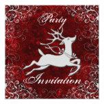 "Reindeer Party Invitation 5.25"" Square Invitation Card"