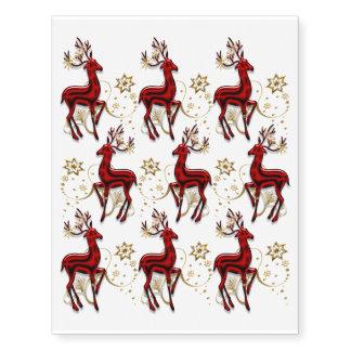 Reindeer pattern elegant gold red temporary tattoos