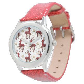 Reindeer pattern elegant gold red wrist watch