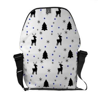 Reindeer Pine Forest Messenger Bags