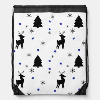 Reindeer Pine Forest Drawstring Bag