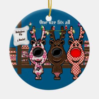 Reindeer PJs 3 Bucks Ceramic Ornament