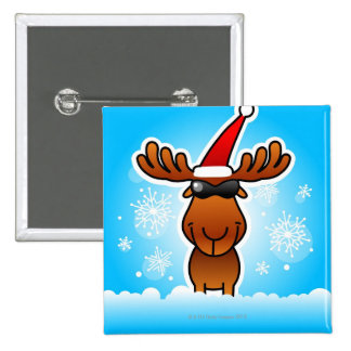 Reindeer Playing Santa 2 Inch Square Button