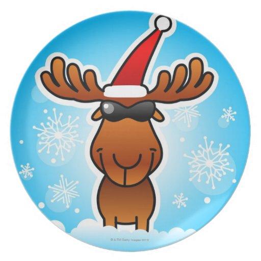 Reindeer Playing Santa Dinner Plate