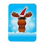 Reindeer Playing Santa Rectangular Photo Magnet