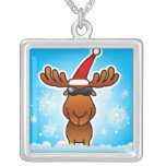 Reindeer Playing Santa Square Pendant Necklace