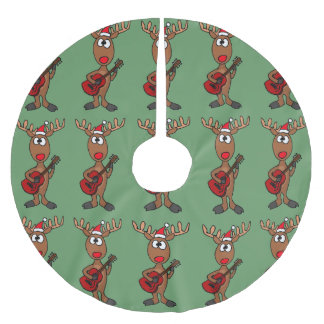 Reindeer Playing Saxophone Christmas Tree Brushed Polyester Tree Skirt