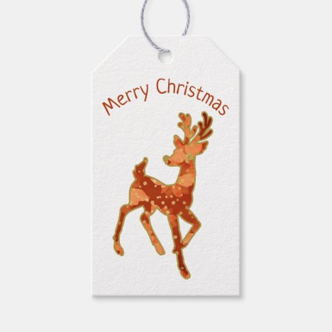 Reindeer/ Poinsettia/ Merry Christmas / Gift Tag