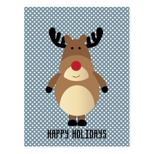 Reindeer Polka Dots Holiday Postcard