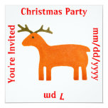 "Reindeer Puppet Invitation Template 5.25"" Square Invitation Card"