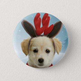 Reindeer Puppy Christmas Button