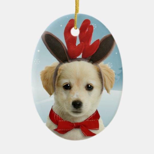 Reindeer Puppy Christmas Ornament