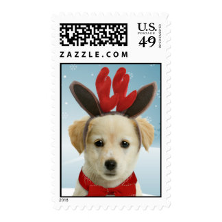 Reindeer Puppy Christmas Postage