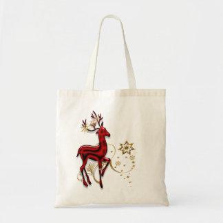 Reindeer red gold snowflake tote bag