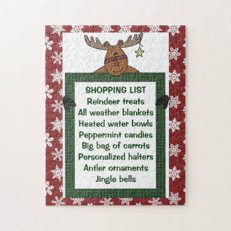 Reindeer Red Shopping List 10x14 ONLY! Jigsaw Puzzle