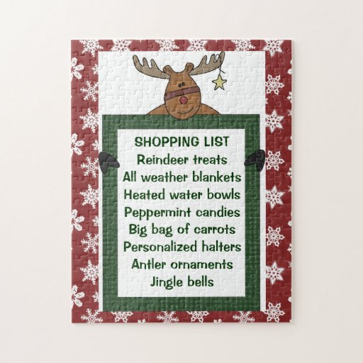 Reindeer Red Shopping List 10x14 ONLY! Puzzles