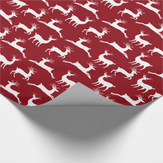 Reindeer Red White Christmas Wrapping Paper