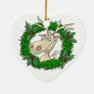 Reindeer reef, on a ceramic heart. ceramic ornament