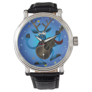 Reindeer Rock Vintage Leather Strap Black Watch