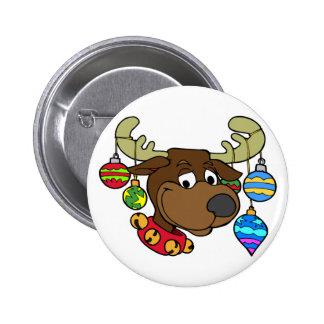 Reindeer Rudolf Xmas Balls Gifts 2 Inch Round Button