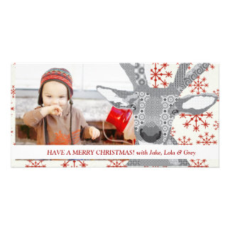 Reindeer Rudolph Christmas Red Photo Card