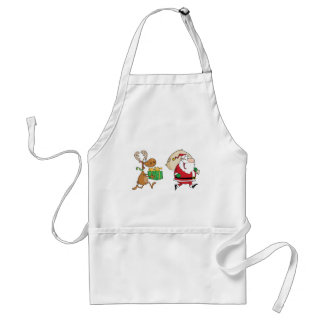 Reindeer running with Santa delivering gifts Adult Apron