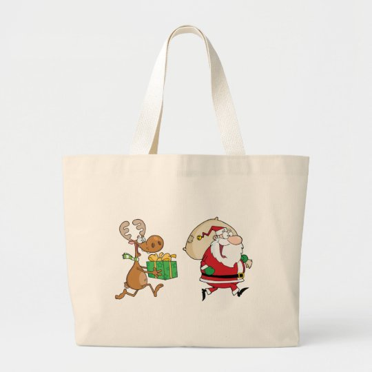 Reindeer running with Santa delivering gifts Large Tote Bag