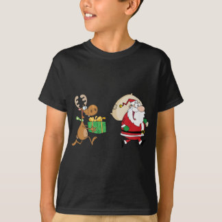 Reindeer running with Santa delivering gifts T-Shirt