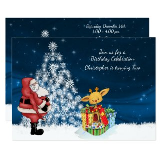 Reindeer, Santa and Christmas Tree Birthday Invite