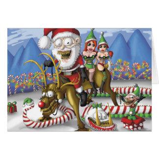 Reindeer Santa Greeting Cards