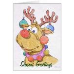 Reindeer Seasons Greetings Blank Holiday Card