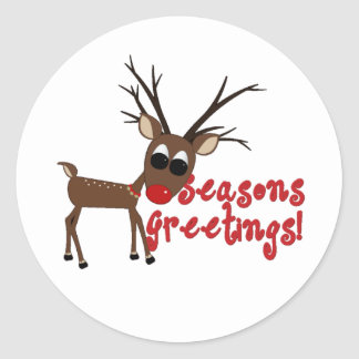 Reindeer Season's Greetings Classic Round Sticker