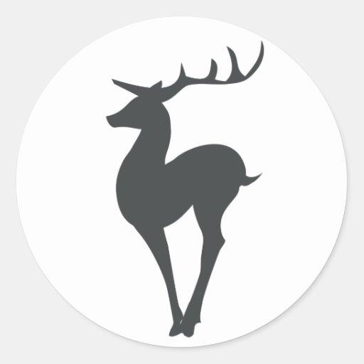 Reindeer Silhouette Classic Round Sticker