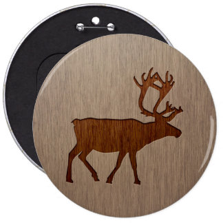 Reindeer silhouette engraved on wood design pinback button
