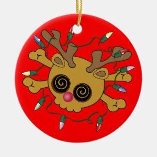 Reindeer Skull Ceramic Ornament