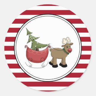 Reindeer & Sleigh Holiday Envelope Seals Stickers