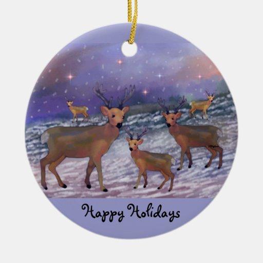 Reindeer Snowfall Holiday Ornaments