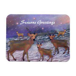 Reindeer Snowfall Premium Magnet