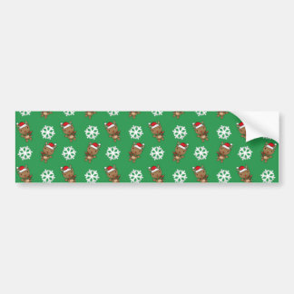 Reindeer snowflake green pattern car bumper sticker