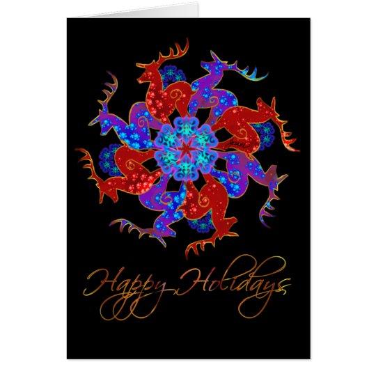 Reindeer Snowflake Holiday Greeting Card
