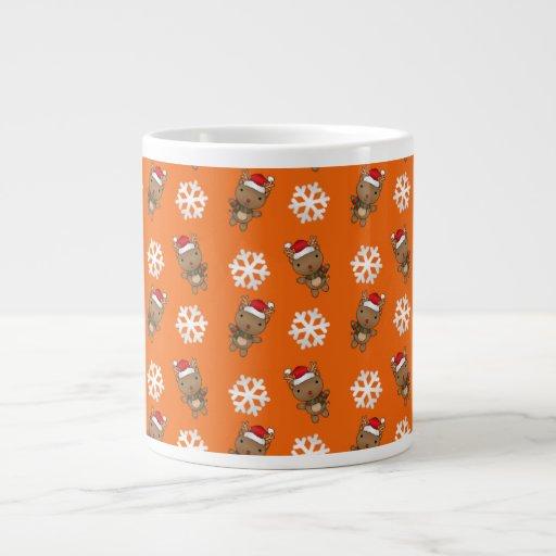 Reindeer snowflake orange pattern jumbo mug
