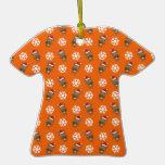 Reindeer snowflake orange pattern christmas ornament