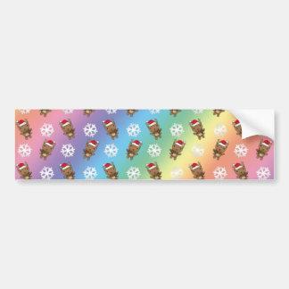 Reindeer snowflake rainbow pattern car bumper sticker
