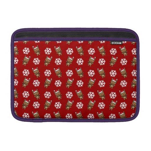 Reindeer snowflake red pattern MacBook sleeve