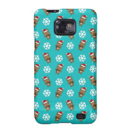 Reindeer snowflake turquoise pattern samsung galaxy SII cases