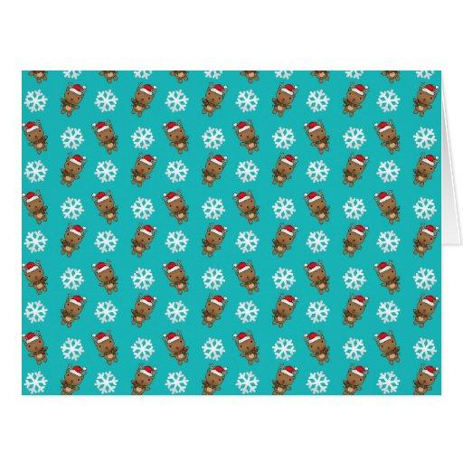 Reindeer snowflake turquoise pattern large greeting card
