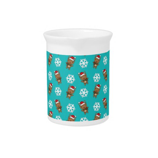 Reindeer snowflake turquoise pattern pitcher