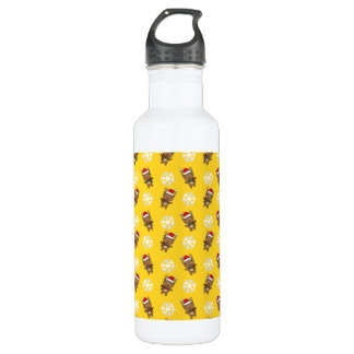 Reindeer snowflake yellow pattern 24oz water bottle