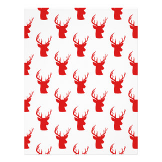 Reindeer | Stag | Antler Red Holiday Pattern Letterhead