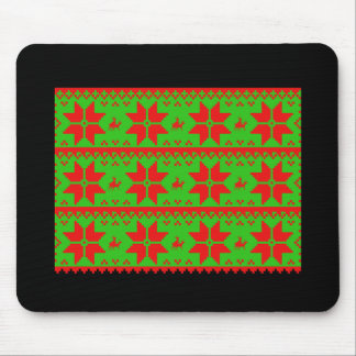 Reindeer Sweater Pattern Multi Green - Holiday Hum Mouse Pad